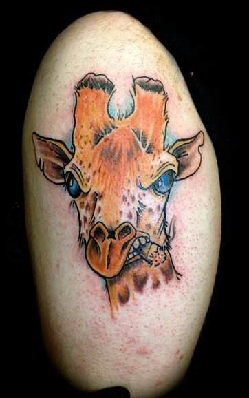 giraffe-with-cigar michigan color tattoo