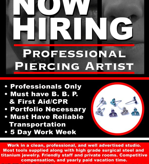 Now Hiring Professional Piercer