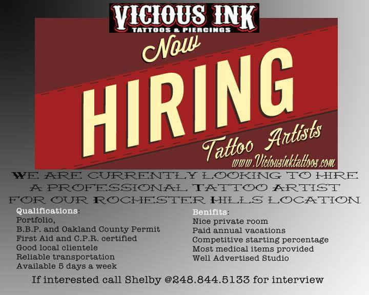 Now Hiring A Tattoo Artist For Our Rochester Hills Location